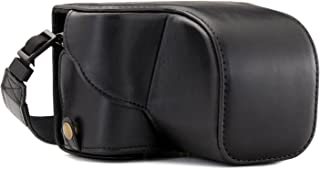 MegaGear Sony Alpha A6300 A6000(16–50mm) Ever Ready Piel Case de Cámara con Correa y batería Acceso Negro mg984