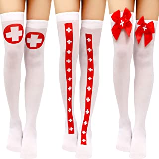 3 Pairs Halloween Thigh High Socks Over Knee Long Stockings Knee Thigh High Socks for Halloween Costume Cosplay Party Favors