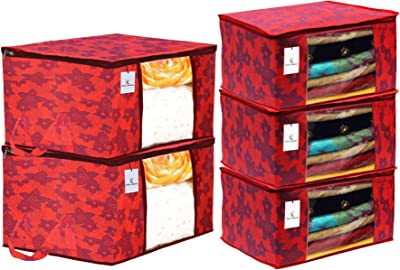Heart Home Metallic Printed Non Woven 3 Pieces Saree Cover and 2 Pieces Underbed Storage Bag, Cloth Organizer for Storage, Blanket Cover Combo Set (Red) - CTHH17931