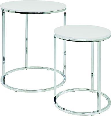 Haku Möbel 33384 Lot de 2 Tables Basse Acier/MDF Chromé-Blanc 50 cm