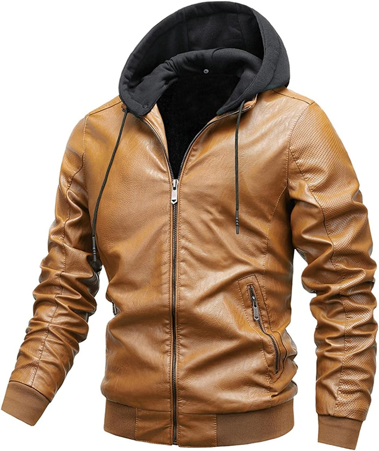 Men's Casual PU Faux Leather Jacket Stand Collar Fleece Zip-Up Motorcycle Bomber Jacket with Removable Hood