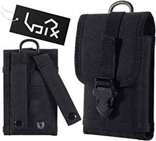 Urvoix Tactical Military MOLLE Bag with Buckle Army Waist Belt Clip Phone Pouch - EDC Utility Outdoor Gear Holster Black