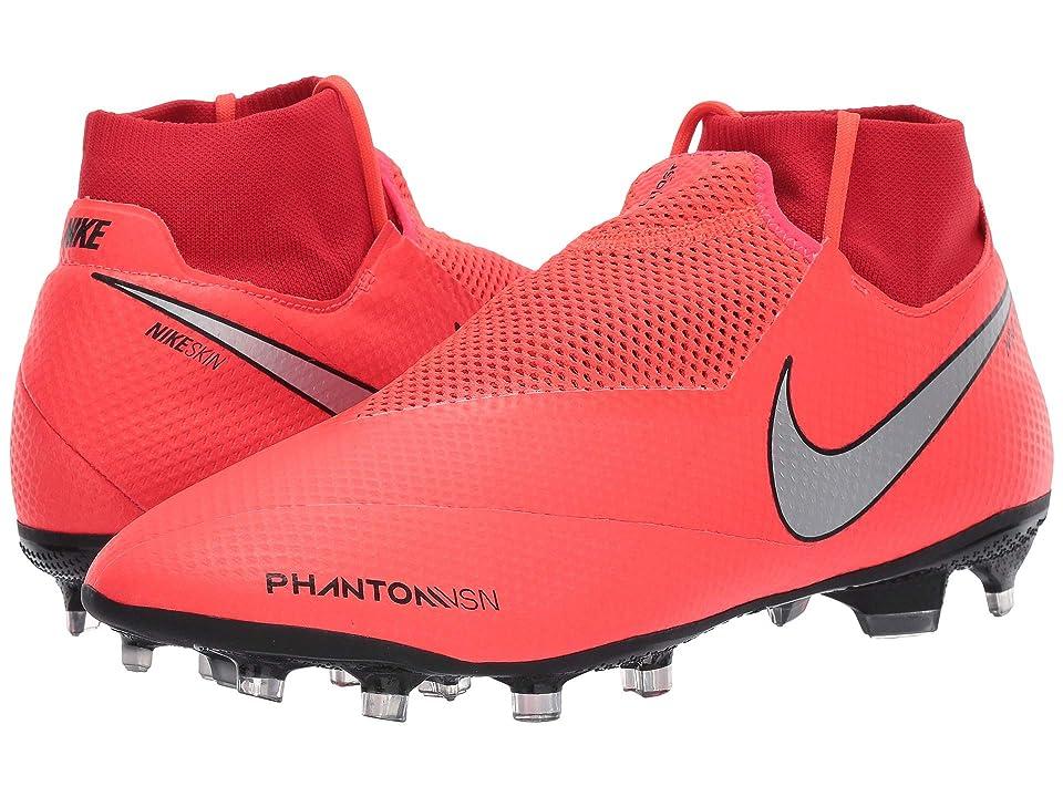 Nike Phantom VSN Pro DF FG (Bright Crimson/Metallic Silver) Men's Soccer Shoes