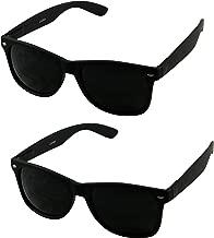ShadyVEU - Super Dark Blacked Out Retro Round 80's Casual UV400 Sunglasses