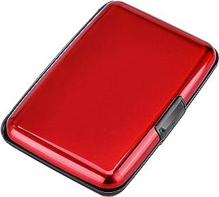 Elfish RFID Blocking Credit Cards Holder Aluminum Wallet Metal ID Case for Men Women (red-t)