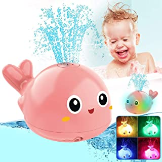 Learning Curve Baby Bath Toys, Light Up Baby Pool Toy with LED Light Whale Spray Water Toy for Toddlers Kids, Induction Sp...