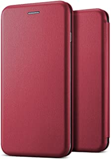 Microsonic 21120 Huawei P30 Lite Kılıf Ultra Slim Leather Design Flip Cover Bordo