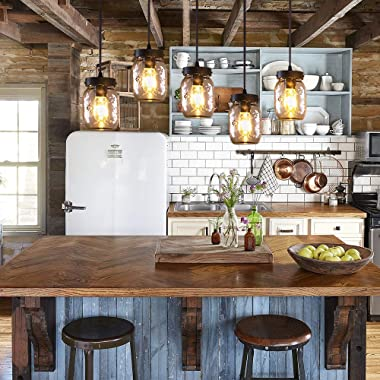 Wellmet Farmhouse Chandelier Glass Mason Jar Adjustable, 5-Lights Dining Room Lighting Fixtures Hanging Rustic Chandeliers fo