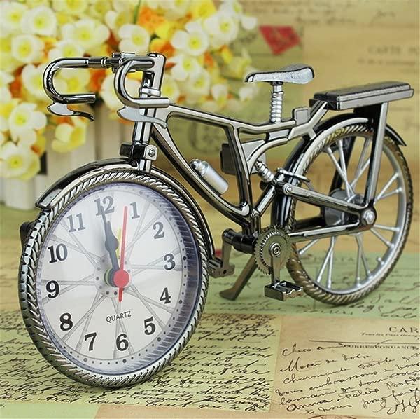 FinerMe Vintage Mini Motorcycle Bicycle Model Alarm Clock Battery Powered Desk Shelf Clock Creative Christmas Gifts Bicycle Model