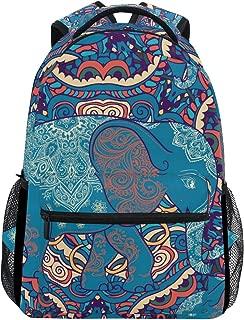 Elephant India Ethno Boho Graffiti Blue Stylish Large Backpack Personalized Laptop iPad Tablet Travel School Bag with Multiple Pockets for Men Women College
