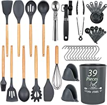 Docgrit Kitchen Utensil Set- 39 PCs Cooking Utensils with Oven Mitts, Ice Cream Scoop, Can Opener, Spoon Spatula &Turner M...