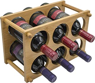 Sorbus 2-Tier Bamboo Wine Rack - Classic Wood Wine Rack Storage for Bottles - Perfect for Bar, Wine Cellar, Basement, Cabinet, Pantry, etc - Hold 6 Bottles