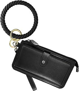 Idakekiy Wristlet Keychain, Silicon Key Ring Wallet Bracelets Card Holder Purse with Tassel for Women Girl