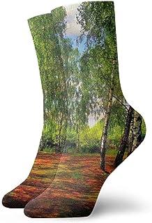 Spring Road Green Water Leaves Calcetines cortos para mujer para hombre 30cm Calcetines clásicos de algodón para yoga Senderismo Ciclismo Correr Fútbol Deportes