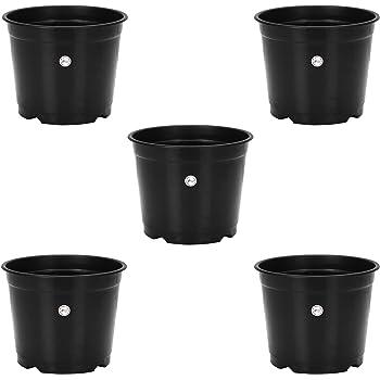 Gamla / Planter / Pot 8 – inch (pack of 5 Pots) ( Black colour pot) For garden Balcony Flowering Pot by Kraft Seeds