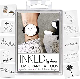 INKED by Dani Temporary Tattoo Designs – Jet Setter Pack. Realistic, Hand-Drawn Body ArtArt