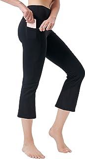 Zeronic Women's Yoga Capri Pants with Pockets Flare Workout Bootleg Leggings Bootcut Crop Pants