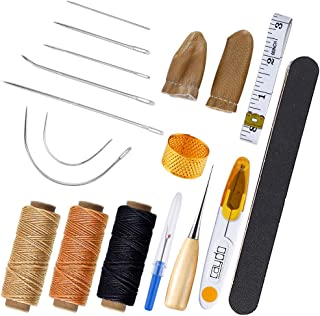 Caydo 18 Pieces Upholstery Repair Kit with 3pcs 50m Waxed Thread, Sewing Needles, Finger Cots, Scissor, Awl, Handy Stitch Ripper and Frosted Strip for Leather Repair
