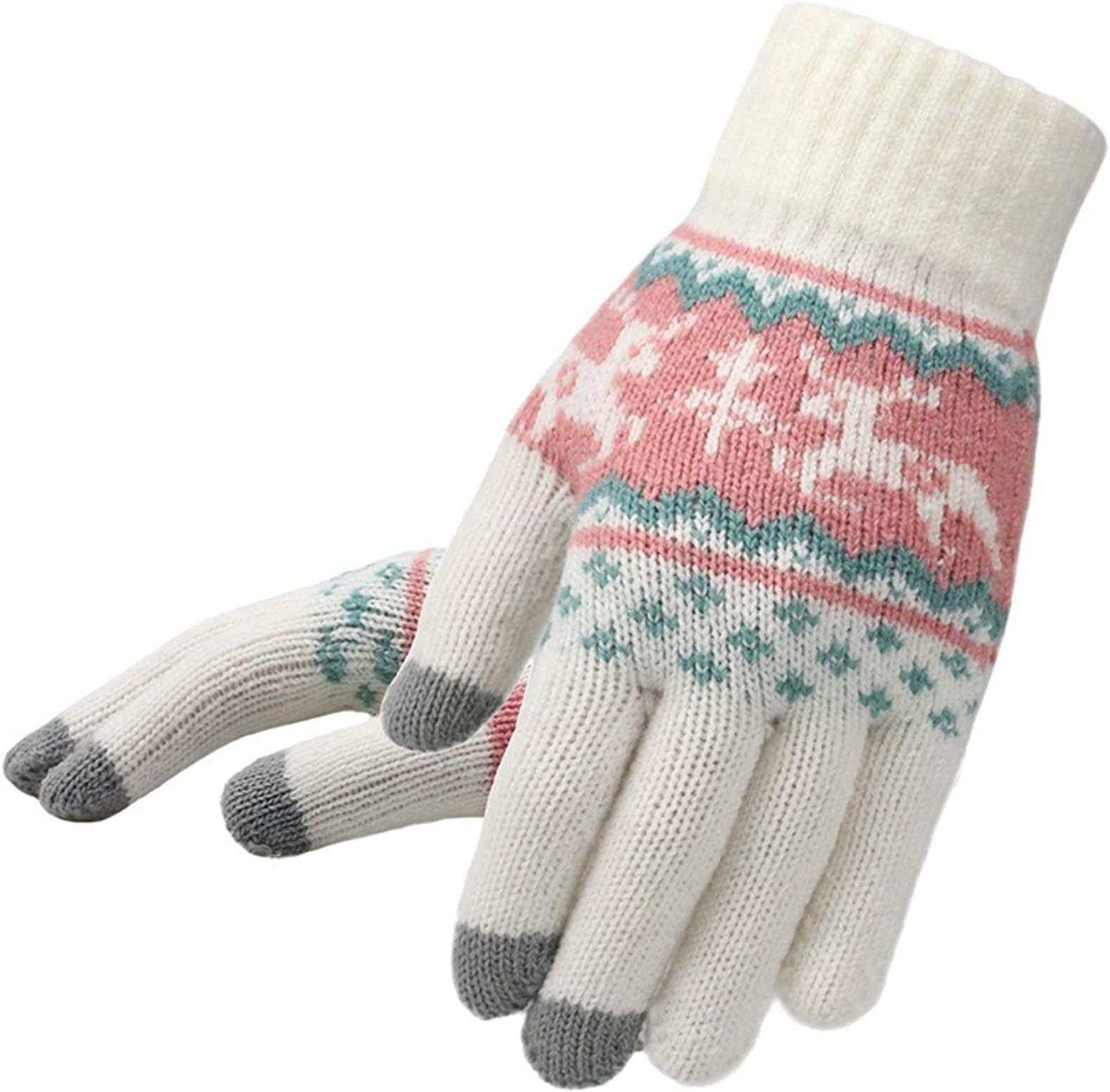 A-YSJ Women's Knitted Gloves Winter Full Finger Warmth Soft Touch Screen Knitted Gloves (Color : White, Gloves Size : One Size)