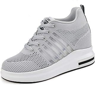 AONEGOLD® Baskets Compensées Femmes Chaussure de Sport Fitness Léger Respirant Sneakers Basses Compensées 7.5 cm