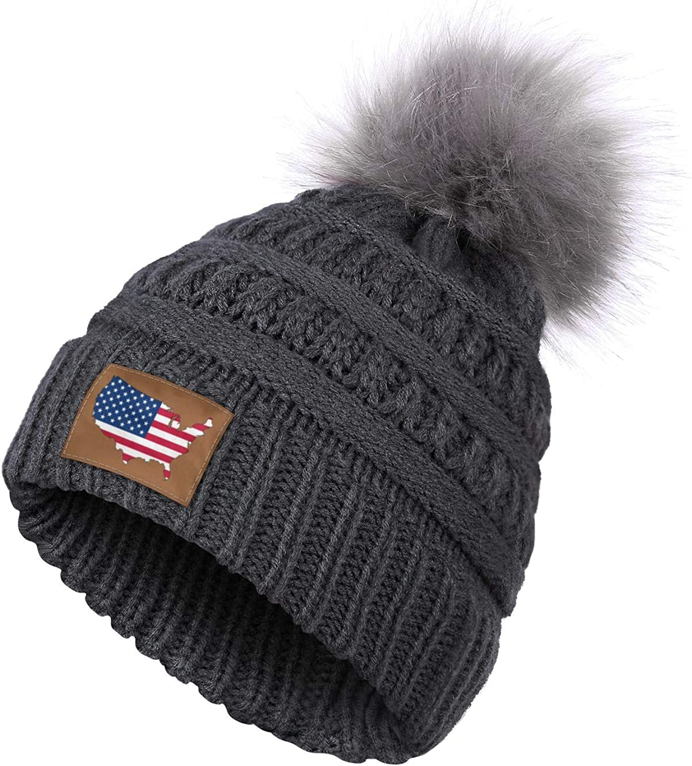American Flag Us Map Outline Women's Winter Blur Pom Beanie with Faux Fur Pompom for Christmas,Halloween