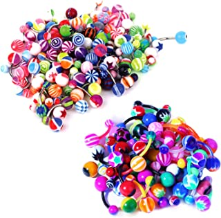BodyJ4You 15-100PC Belly Button Rings Banana Barbells 14G Steel Flexible Bar Mix Color Body Jewelry