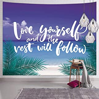 Hexagram Ocean Beach Wall Tapestry for Bedroom Palm Tree Leaves Quote Hippie Tapestry Wall Hanging Bohemian Winter Blue Small Tapestries Wall Decor