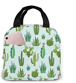 Small Green Cactus Lunch Tote Bag Desert Plants Zipper-Sealed Leak-Proof Portable Thermal Insulation Bag Front Pocket For ...