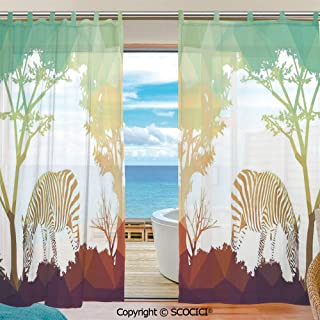 UHOO Window Sheer Curtain Voile Curtain Drapes for Door Kitchen Living Room Bedroom 55x78 inches 2 Panels - Figure in Fractal Display Vivid Colors A Look at Kenya