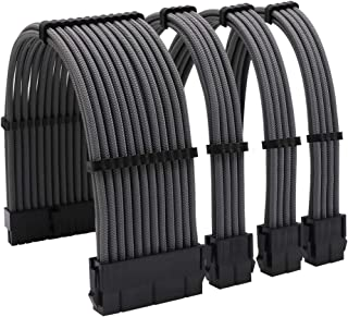 كابلات بأكمام PSU مجموعة التمديد 18AWG 30cm ATX 24pin ، CPU4+4p، PCI-E 6+2p لكابل التيار الكهربائي ATX مع مشط كابل أسود (ر...
