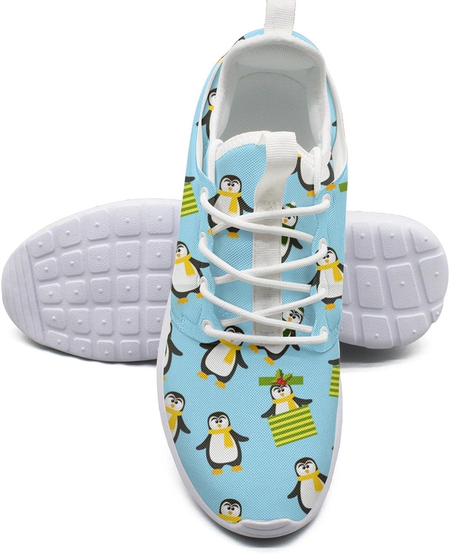 ERSER Cute Christmas Penguin bluee Lightweight Running shoes Women Wide