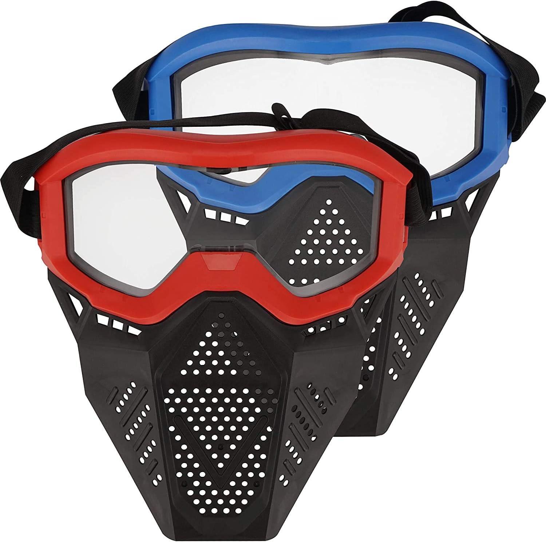 Toyer Paquete de 2 mascarillas tácticas compatibles con Nerf Rival, Apollo, Zeus, Khaos, Atlas, Artemis Blasters Rival Mask (Rojo y Azul)