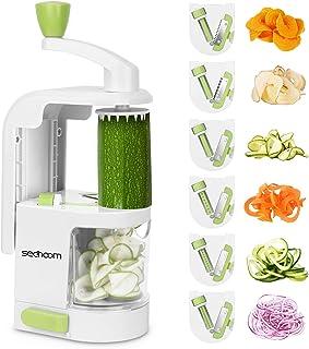 Sedhoom Coupe-Legumes Spirale Manuel, Spiraliseur de légumes avec 6 Lames, Coupe Legumes Multifonctions à Spaghetti de lég...