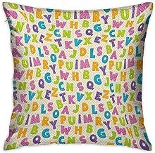 Funda de almohada personalizada cuadrada para niños Letras divertidas lindas en colores vivos Estilo de dibujos animados Alfabeto ABC sobre lunares Telón de fondo Fundas de cojines multicolores Fundas