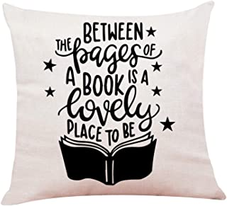 """Ku-dayi Funny Book Lover Quotes Pastel Throw Pillows, Book Lover Gifts, Bibliophile Gifts, Book Worm Gift, Bookish, Reading Pillow Case 18""""x 18""""Inch (Book 1)"""