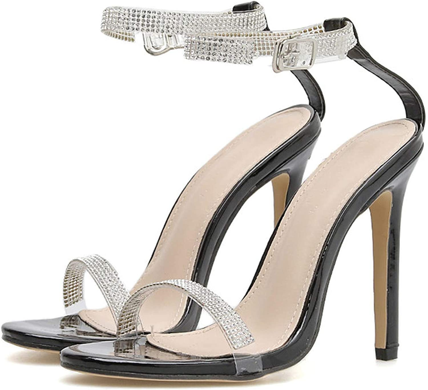 Concise Crystal Thin high Heels Gladiator Sandals Sexy Ankle Strap Pumps Sandals
