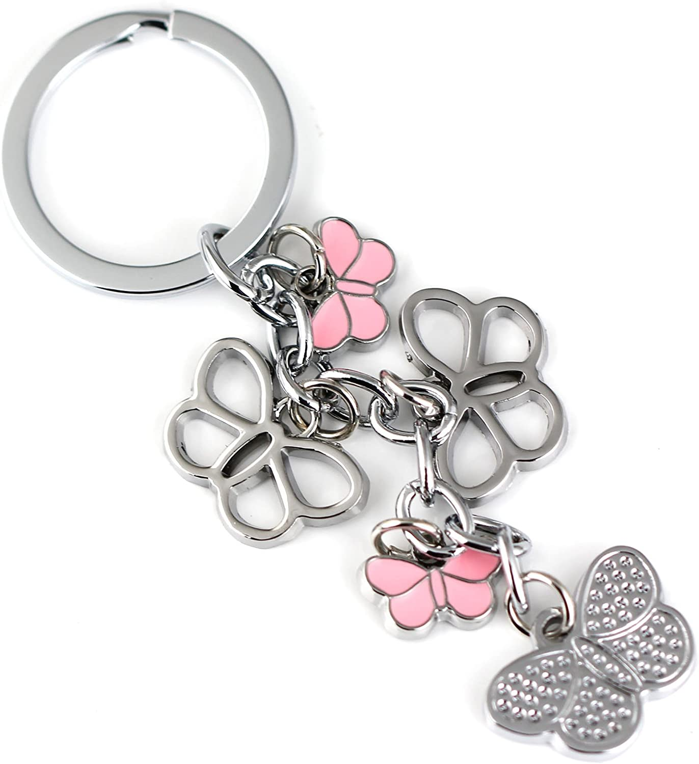 maycom Butterfly Keychain Fashion Accessories Insect Key Chain Ring Keyring Keyfob Keyholder (Pink)
