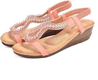 NeeKer Zapatos Talla Plus Sandalias Cuña Beading Hollow Mujer Bohemia Open Toe Suave Rosa Playa Sandalias Mujer Nuevo Verano