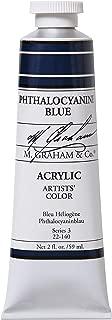 M. Graham 2-Ounce Tube Acrylic Paint, Phthalocyanine Blue (22-140)