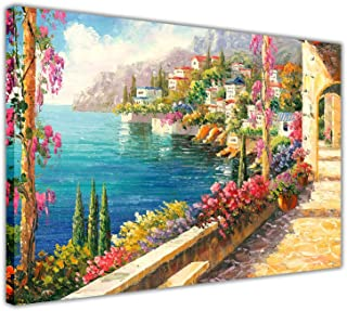 Magical View from a Mediterranean Balcony on Framed Canvas