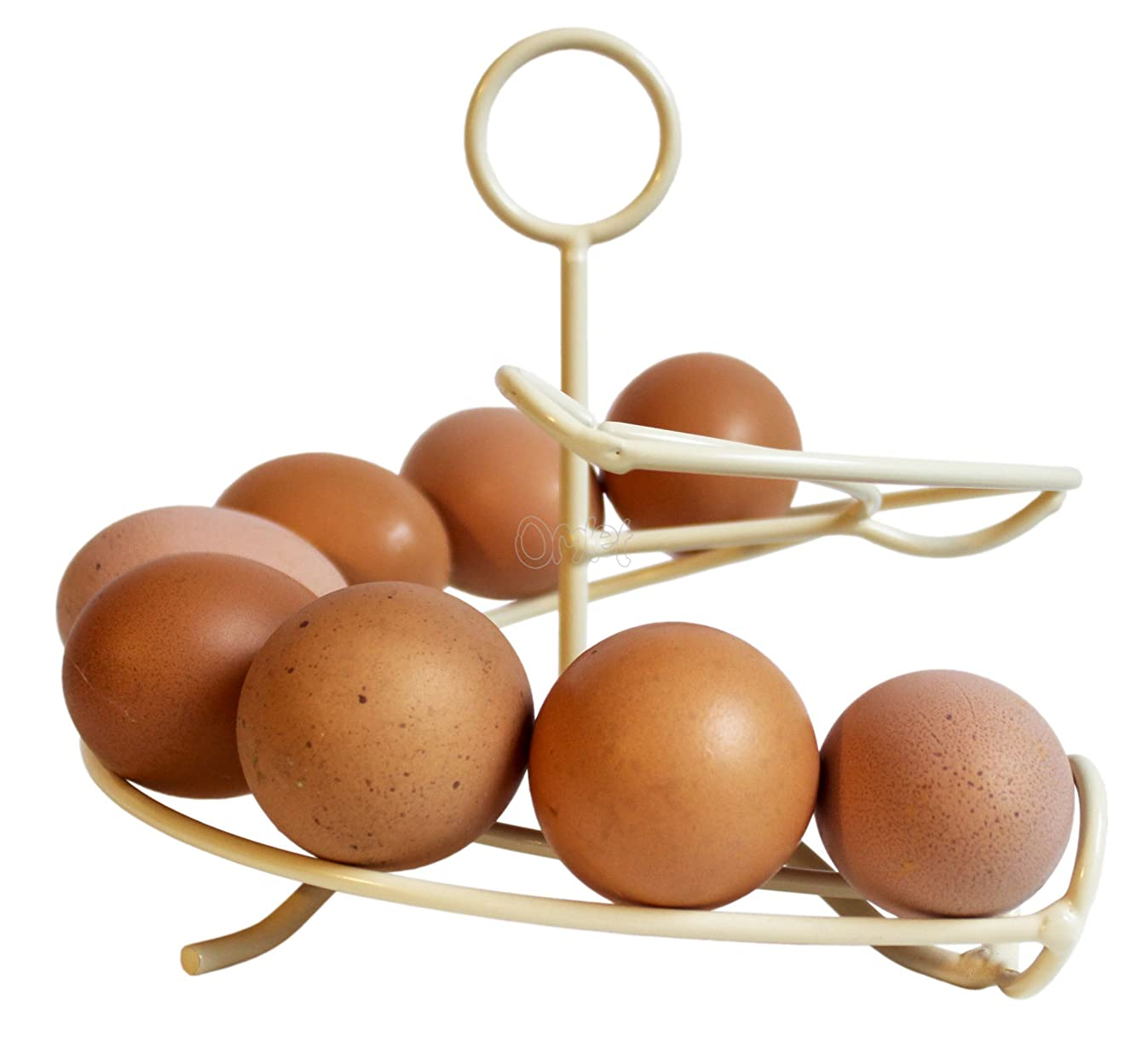 Mini Egg Skelter '12' Egg Storage Rack - Holds 12 Eggs - in Cream