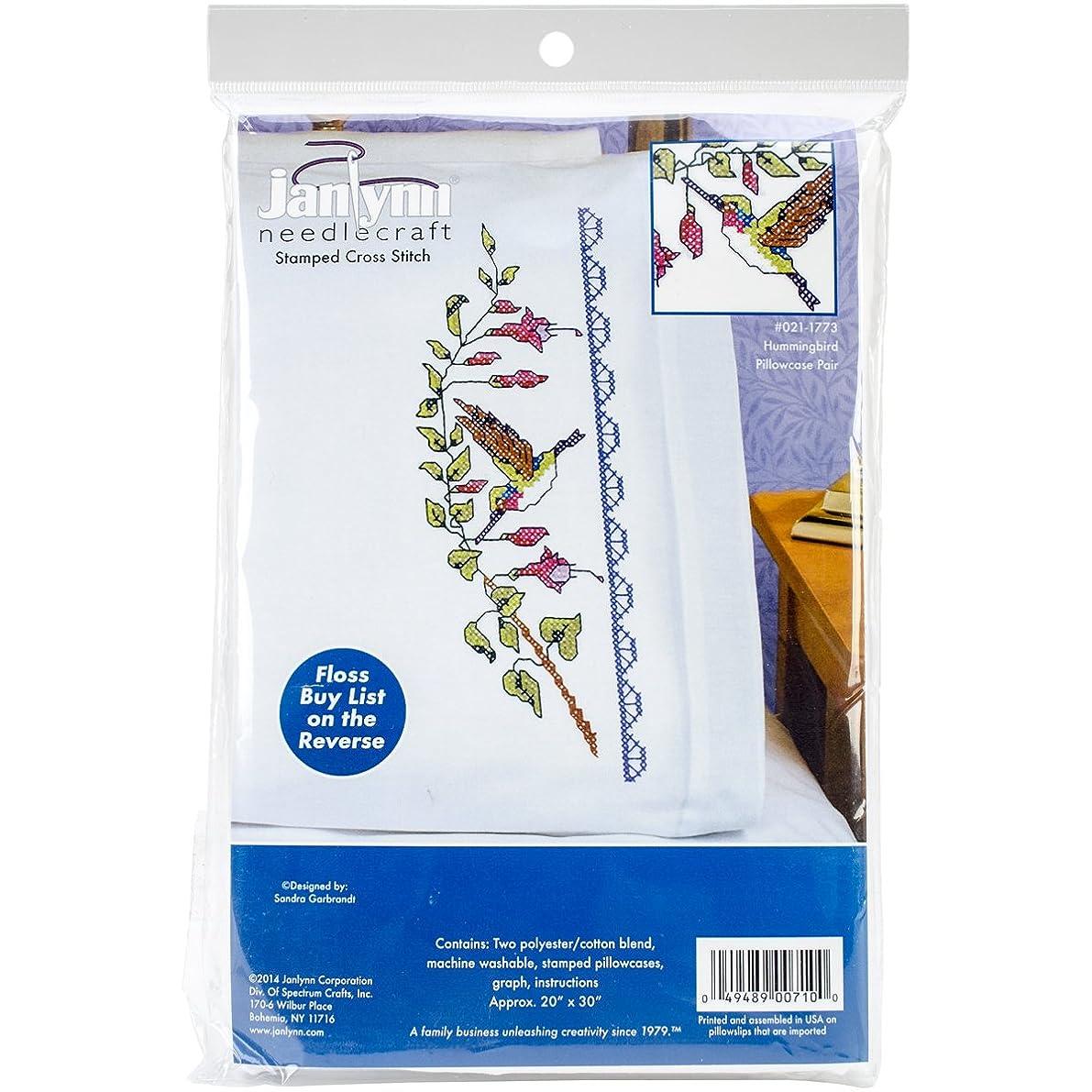 Janlynn Hummingbird Pillowcase Pair Stamped Cross Stitch, 20 by 30-Inch