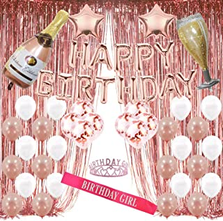 Rose Gold Birthday Decorations Party Supplies Backdrop for Girls and Women Include Happy Birthday Balloons,Birthday Tiara for 13th 18th 21st 25th 30th 40th 45th 50th 60th 70th 80th (Any Age)