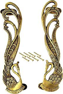 """eSplanade - 11"""" Designer Peacock Brass Door Handle Pair (2 pcs)   Home Decor   Door Decor   Pair of Brass Door Handles   P..."""