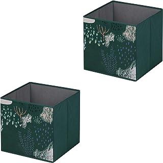 IDIMEX Lot de 2 boites de Rangement en Tissu Forest, Panier de Rangement en Tissu Vert pour Enfant ou Adulte dim 32x32x32 ...