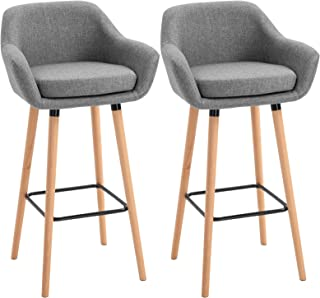 HOMCOM Tabourets de Bar Design scandinave - Lot de 2 tabourets de Bar Grand Confort avec Repose-Pieds et accoudoirs - Bois...