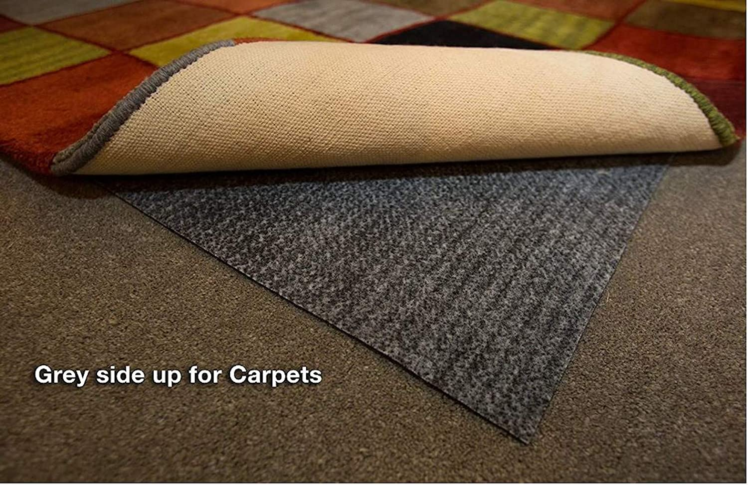 1//4 Thick Nonslip Rug Pad Safe for All Floors and Carpet Hold-a-Rug Plush 2 x 4 Nonskid