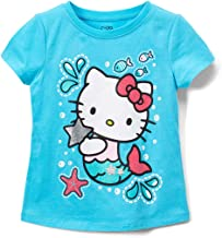 Hello Kitty Girls Short Sleeve Tee Shirt with Glitter Print