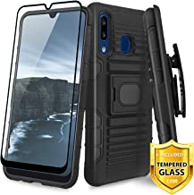 TJS Case for Samsung Galaxy A20/Galaxy A30, with [Full Coverage Tempered Glass Screen Protector] Belt Clip Holster Impact Resistant Magnetic Support Hybrid Kickstand Heavy Duty Armor Phone (Black)