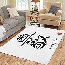Pinbeam Area Rug Hieroglyph Translates Respect Japanese Black Symbol on Text Home Decor Floor Rug 5' x 7' Carpet